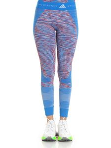 Adidas by Stella McCartney - Leggings Yoga Seamless Space Dye azzurri