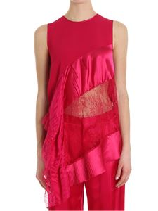 Givenchy - Fuchsia top with lace and pleats