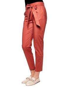 Eleventy - Red trousers with waist belt