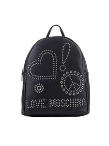 Love Moschino - Eco-leather backpack with studs