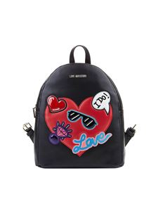 Love Moschino - Black eco-leather backpack with inserts