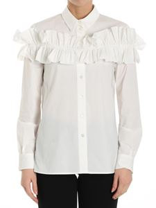 Moschino Boutique - White shirt with front ruffle