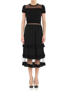 Red Valentino - Black dress with tulle inserts