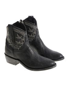 Mexicana - Black vintage effect Texan ankle boots