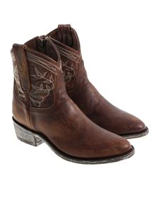 Mexicana - Brown Texan ankle boots with vintage effect