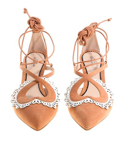 Pink pointy sandals with laces Paula Cademartori aAFOMGo