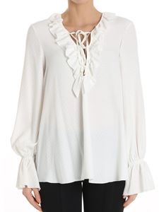 Dondup - White blouse with laces and ruffles