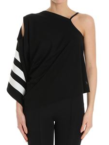 Y-3 Yohji Yamamoto - Black asymmetric and draped top
