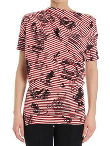 Vivienne Westwood Anglomania - Red and white striped T-shirt with Grateful print