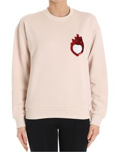 Dondup - Pink sweatshirt with white heart and red flame