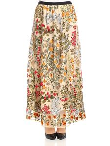 Red Valentino - Multicolor embroidered tulle skirt