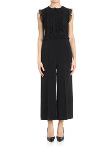 Red Valentino - Black jumpsuit with lace details and ruffles