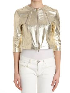 B. FOR - Golden hammered leather jacket