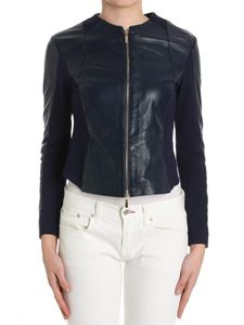 B. FOR - Blue leather and elastic fabric jacket