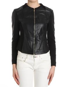 B. FOR - Black leather and elastic fabric jacket