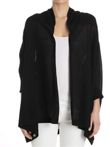 MY TWIN Twinset - Black oversize cardigan with ribbon