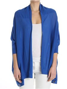 MY TWIN Twinset - Electric blue oversize cardigan with ribbon