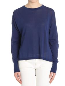 MY TWIN Twinset - Blue asymmetric sweater with rear vent