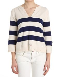 MY TWIN Twinset - White and blue striped sweater