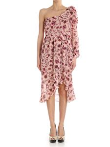 For Love & Lemons - Asymmetric dress with pink floral print