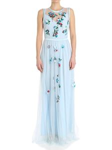 Blugirl - Light-blue dress with floral inserts
