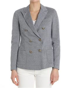 Eleventy - White and blue stripes double-breasted jacket