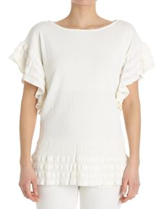 Blumarine - Cream colored top with ruffles
