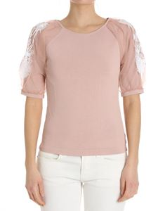 Blumarine - Pink top with floral embroidery