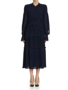 Tory Burch - Blue pleated flounced Stella dress