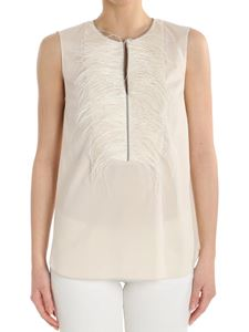 Brunello Cucinelli - Top with ostrich feathers