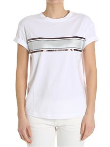 Brunello Cucinelli - White T-shirt with front stripes