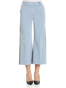 True nyc - Light blue crop trousers with side blue bands