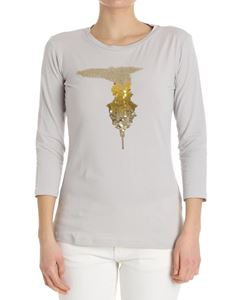 Trussardi Jeans - Gray T-shirt with sequins logo