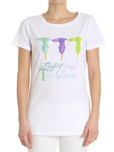 Trussardi Jeans - White T-shirt with multicolor logo print
