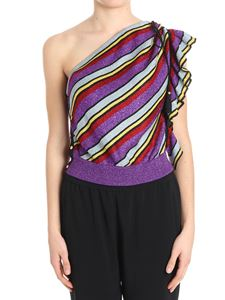 Philosophy di Lorenzo Serafini - One-shoulder top with multicolor stripes