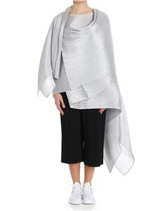 PLEATS PLEASE Issey Miyake - Silver color Colorful Madame-T silver pleated cape