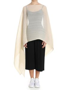 PLEATS PLEASE Issey Miyake - Cream color Colorful Madame-T cape