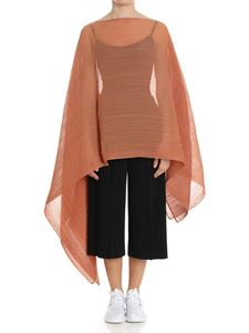 PLEATS PLEASE Issey Miyake - Hazelnut color Colorful Madame-T pleated cape