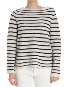 360 Cashmere - White oversize sweater with black stripes