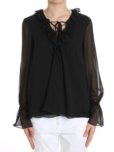 Dondup - Black blouse with ruffles on the neckline