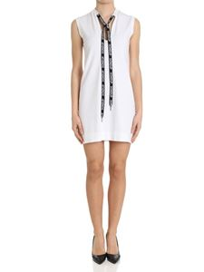 Dondup - White knitted dress with logo ribbon