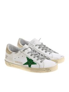 Golden Goose Deluxe Brand - White leather and glitter green Superstar sneakers