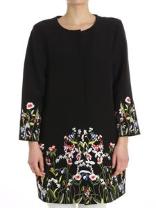 Blugirl - Black coat with floral embroidery