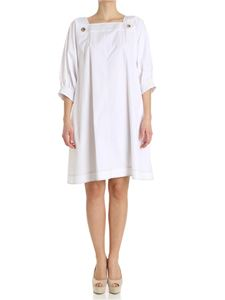 Fay - White dress with top-stitching details