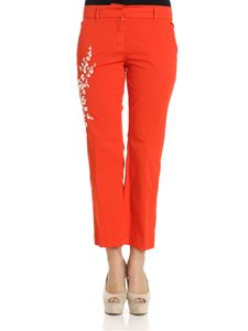 True Royal - Red Sandy trousers with white embroidery