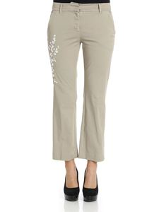True Royal - Beige Sandy trousers with white embroidery