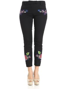 True Royal - Jinny trousers with flowers embroidery