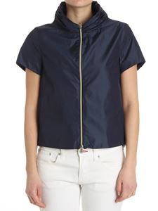 Herno - Blue flared jacket with short sleeves