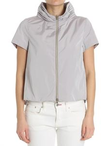 Herno - Gray flared jacket with short sleeves